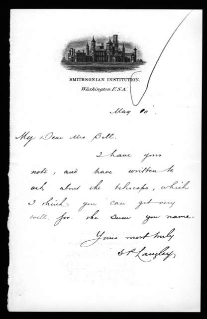 Letter from Samuel P. Langley to Mabel Hubbard Bell, May 10, 1897