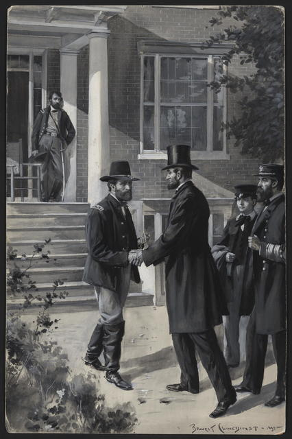 [Lincoln and Admiral D. D. Porter visit Grant at Petersburg.]
