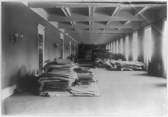 Material removed from the Capitol and deposited in the north-basement hall, now occupied by the Music Division
