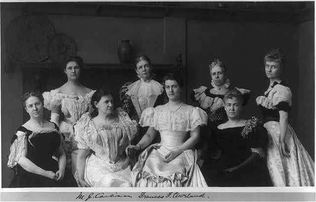 [Mrs. Frances F. Cleveland and wives of members of Cleveland Cabinet posed in Frances B. Johnston's studio, 1332 V. St., N.W., Washington, D.C.]