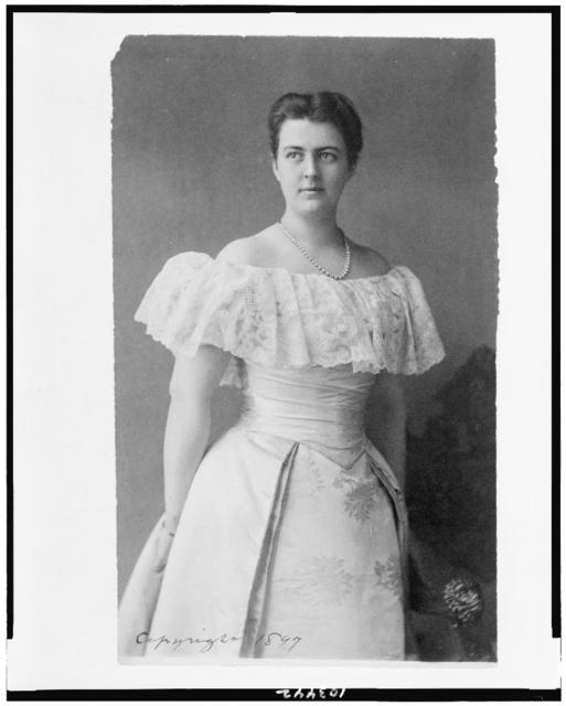 [Mrs. Frances Folsom Cleveland, three-quarter-length portrait, standing, facing left]