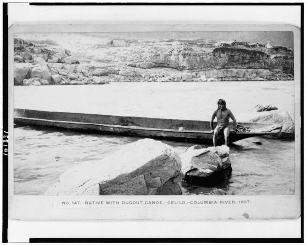 Native with dugout canoe-Celilo-Columbia River, 1897 / [Gi]fford, The Dalles, Or.