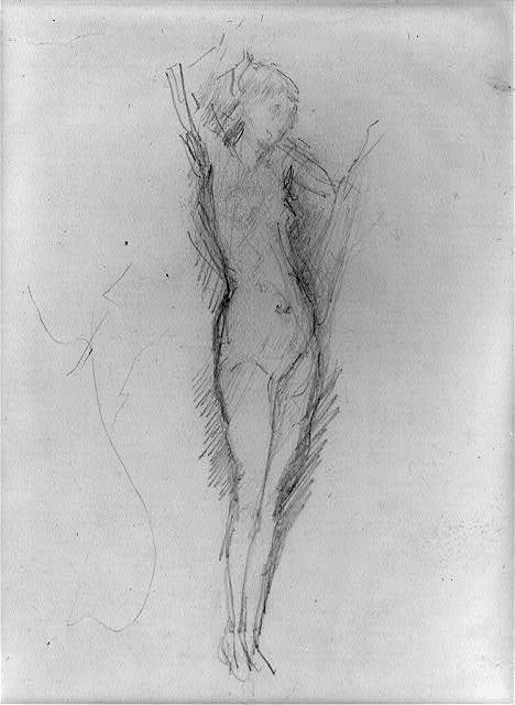 [Nude figure standing, holding a veil]