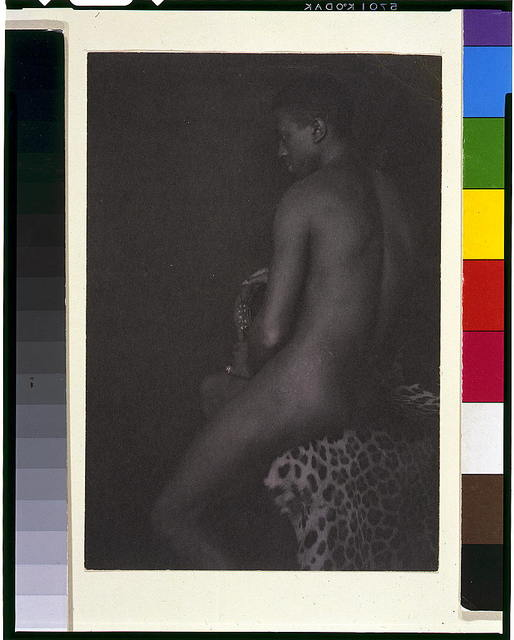 [Nude youth on leopard skin]