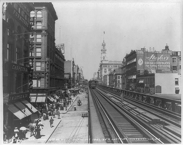 [N.Y.C. - looking down elevated tracks on 6th Ave., near 16th St.]