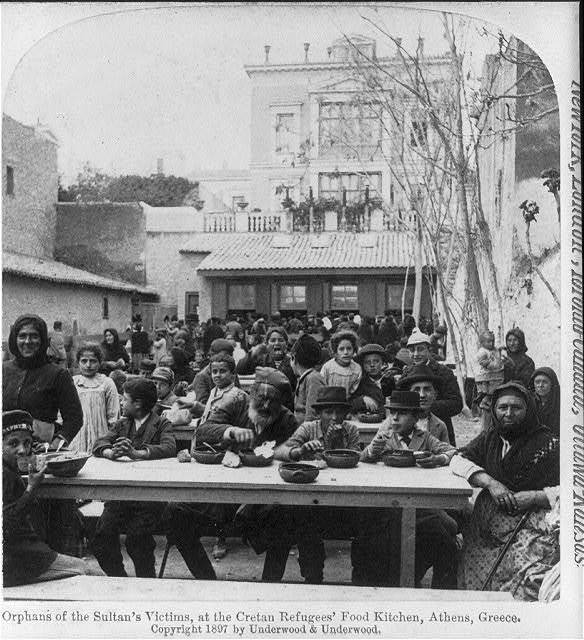 Orphans of Sultan's victims, at the Cretan refugees' food kitchen, Athens, Greece