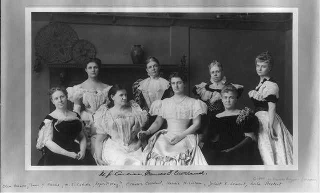 Portrait group of Mrs. Frances (Folsom) Cleveland and the ladies of the Cabinet: Olive Harmon, Jane P. Francis, M.J. Carlisle, Agnes P. Olney, Nannie H. Wilson, Juliet K. Lamont, and Leila Herbert