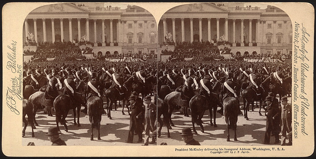 President McKinley delivering his inaugural address, Washington, U.S.A.