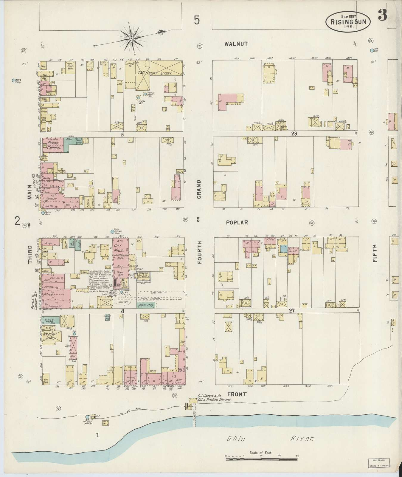 Sanborn Fire Insurance Map from Rising Sun, Ohio County, Indiana