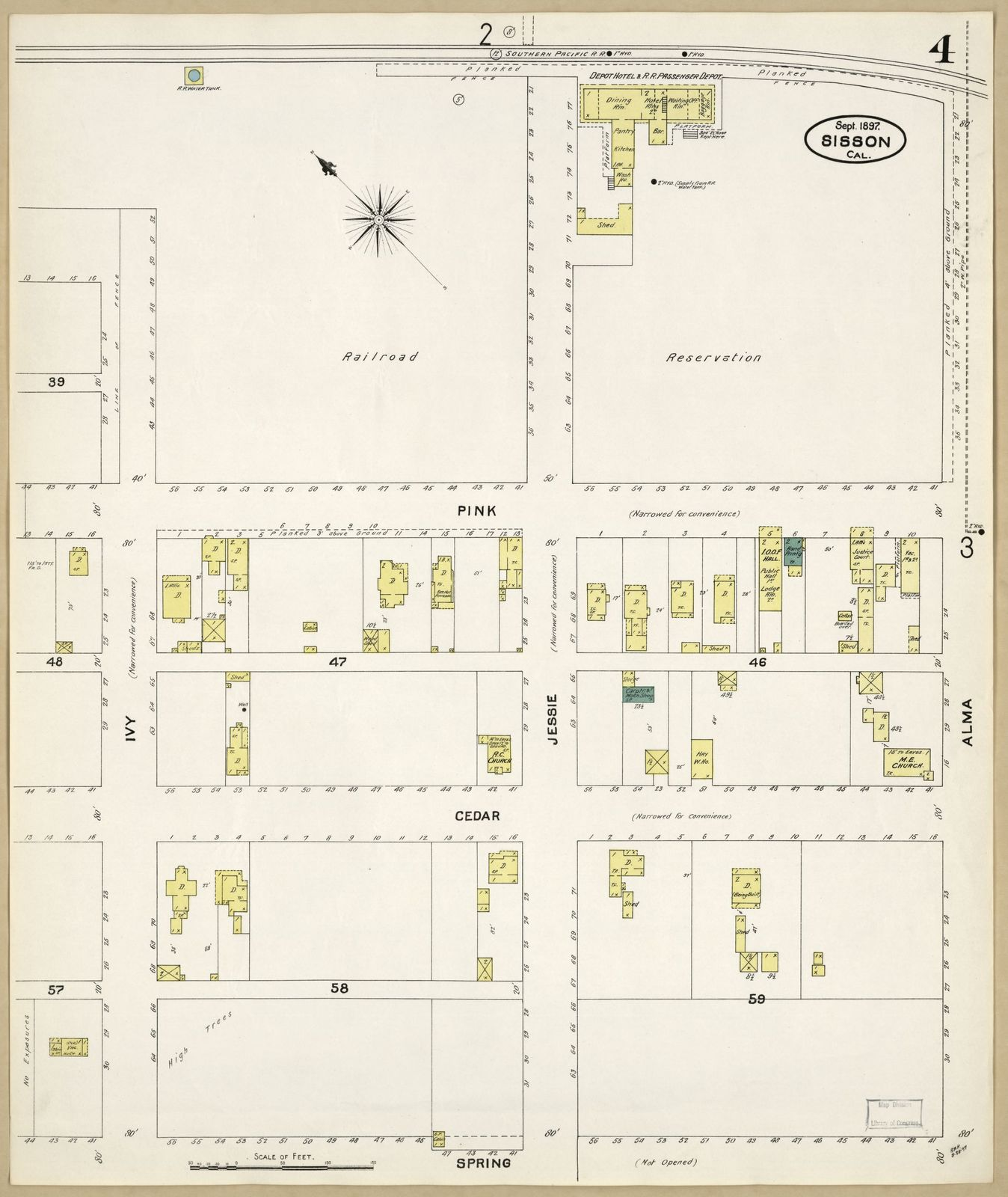 Sanborn Fire Insurance Map From Sisson Siskiyou County California