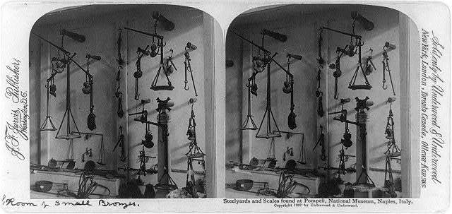 Steelyards and scales found at Pompeii, National Museum, Naples, Italy, room of small bronzes