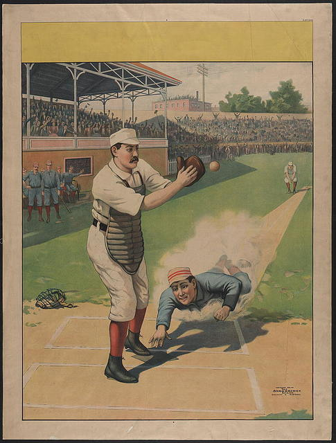 [Stock poster showing runner sliding past catcher]
