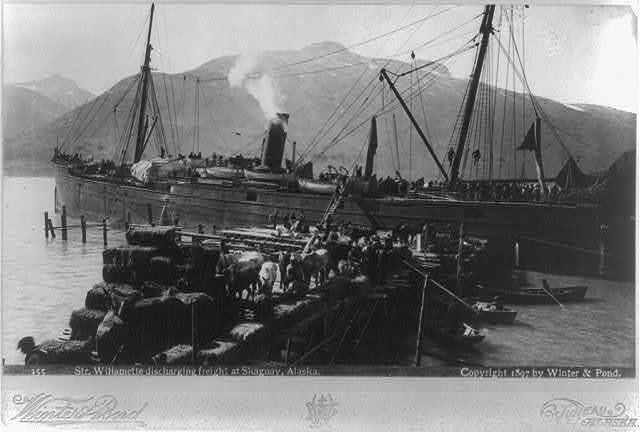 Str. WILLAMETTE discharging freight at Skaguay, Alaska