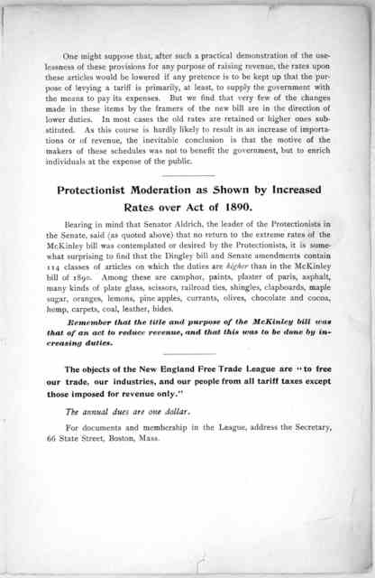 """The """"moderation """" of the proposed tariff .... See how this moderation is expressed in the Dingley Bill (H. R. 379), as it passed the House of representatives ... [Boston, 1897]."""