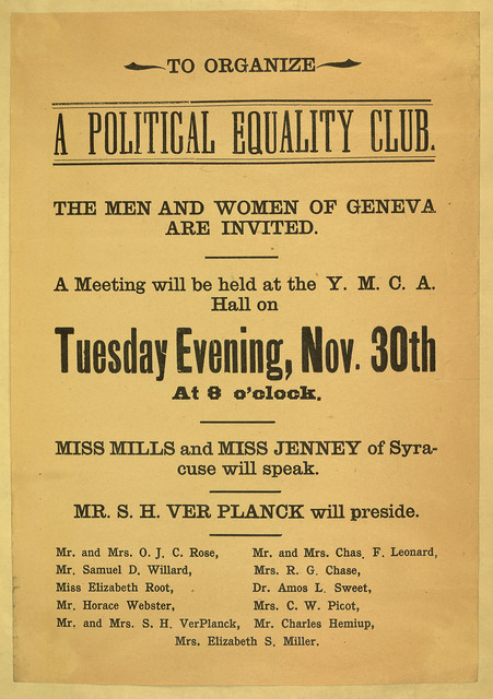 To Organize A Political Equality Club the Men and Women of Geneva