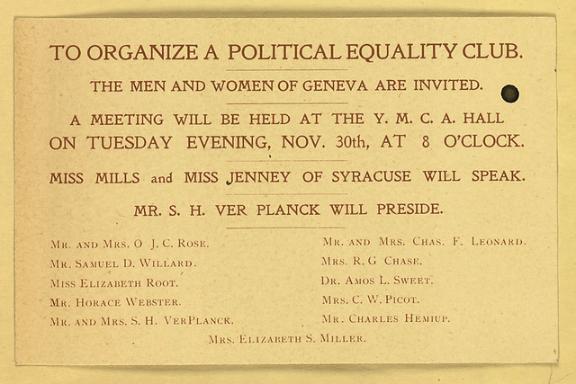 To Organize a Political Equality Club. The Men and Women of Geneva Are Invited.
