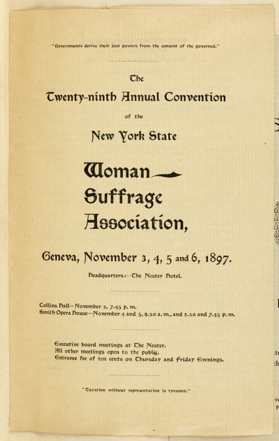 Twenty Ninth Annual Convention of the New York State Woman Suffrage Association