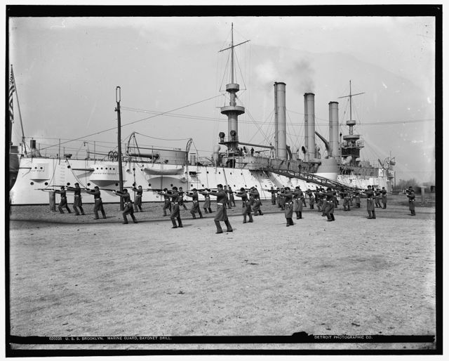 U.S.S. Brooklyn, Marine guard bayonet drill