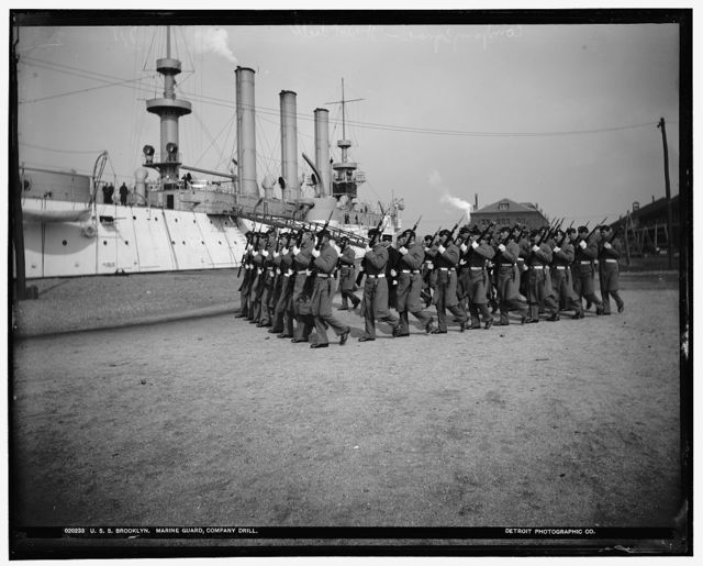 U.S.S. Brooklyn, Marine guard company drill