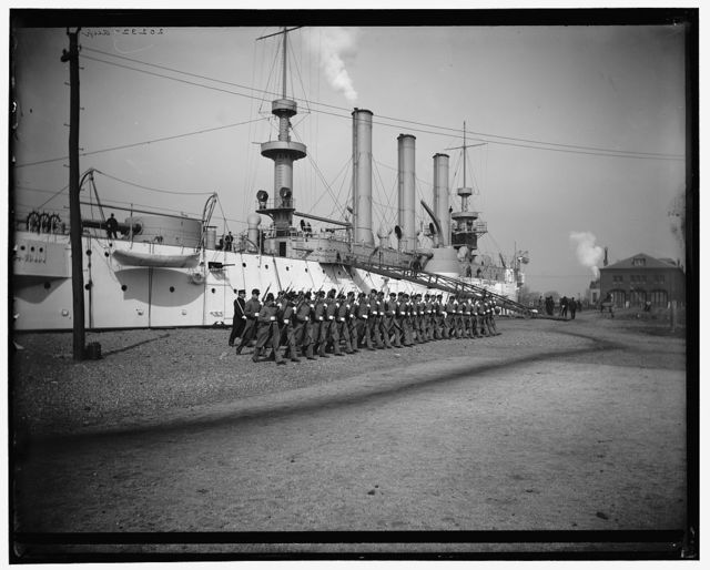 [U.S.S. Brooklyn, Marine guard company drill by sections]