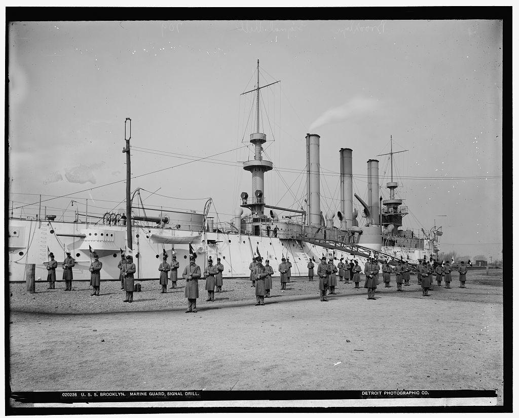 U.S.S. Brooklyn, Marine guard signal drill