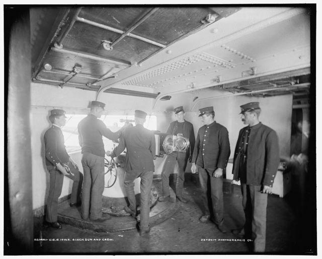 U.S.S. Iowa, 4 inch gun and crew