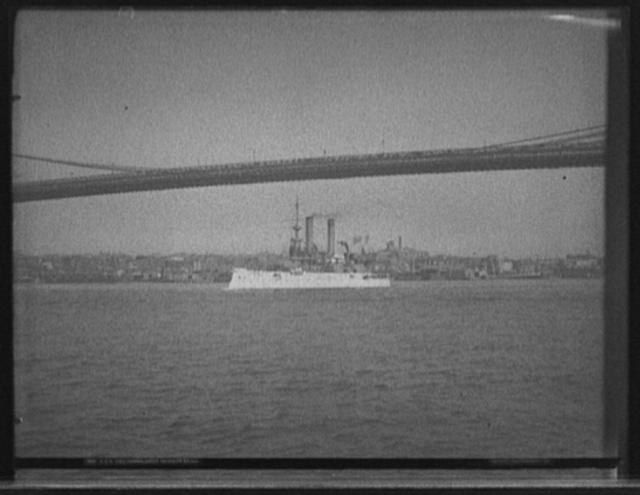 U.S.S. Iowa passing under Brooklyn Bridge