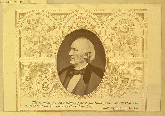 Wendell Phillips portrait with quote
