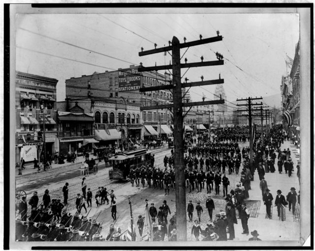 24th Infantry Leaving Salt Lake City, Utah for Chattanooga, Tennessee, April 24th, 1898
