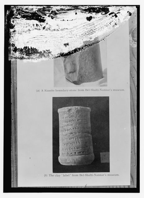 "a) A Kassite boundary stone from Bel-Shalti-Nannar's museum b) The clay ""label"" from Bel-Shalti-Nannar's museum"