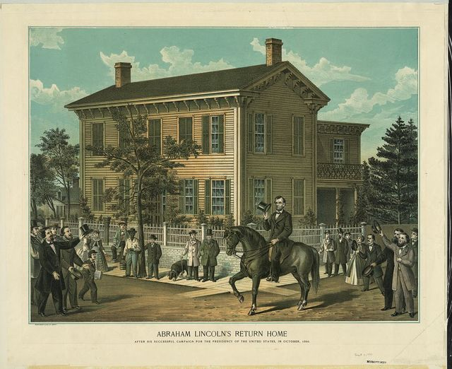 Abraham Lincoln's return home after his successful campaign for the Presidency of the United States, in October, 1860