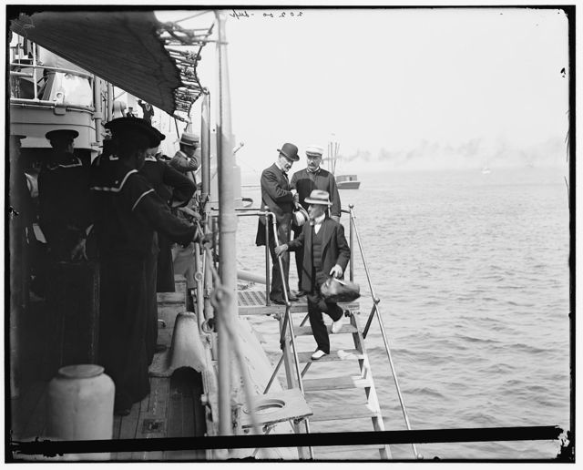 Admiral Schley leaving U.S.S. Brooklyn on Captain Cook's departure for Puerto Rico, 1898