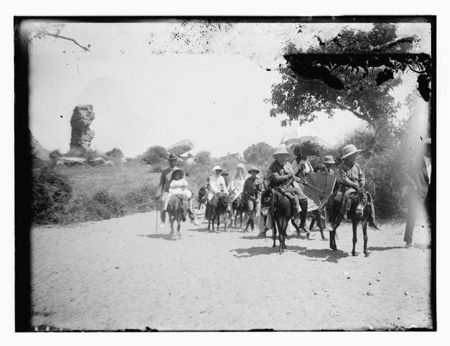 Am. [i.e., American] Colony women on donkeys during Askalon camping trip