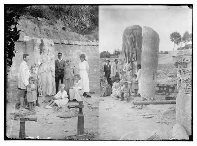 American colony group on Askalon camping trip posing with ruins ; [Another view of American Colony members on Askalon camping trip posing with ruins]