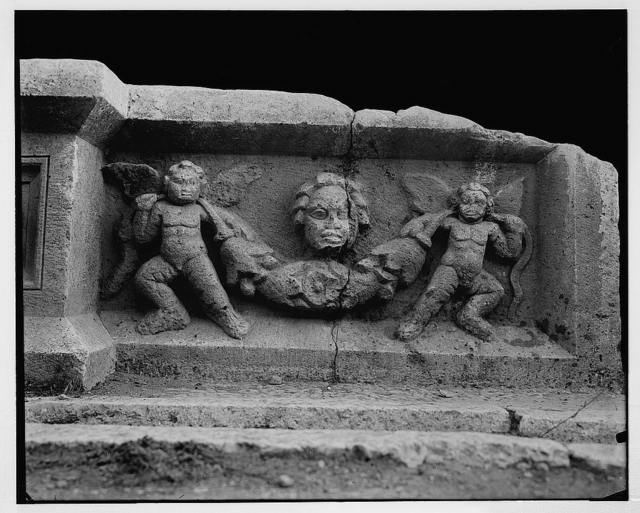 [Cherubs and festoons on basin in court of altar, Temple of the Sun, Baalbek]