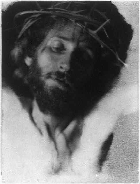 [Christ with crown of thorns, frontal, looking down]