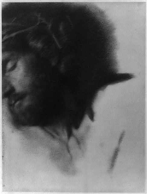 [Christ with crown of thorns, head turned to left, partially out of frame]