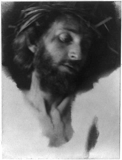 [Christ with crown of thorns, looking down to right]