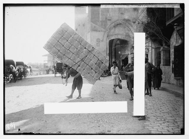 City types. Jerusalem porter. (Carrying huge load of empty petrol tins)