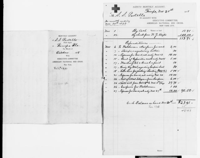 Clara Barton Papers: Red Cross File, 1863-1957; American National Red Cross, 1878-1957; Relief operations; Spanish-American War; Field operations; Tampa, Fla., 1898