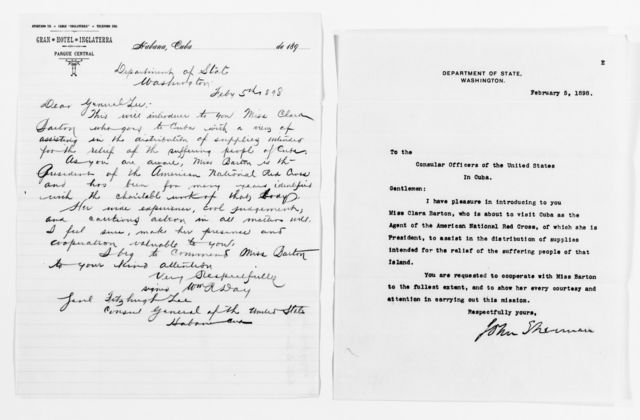 Clara Barton Papers: Red Cross File, 1863-1957; American National Red Cross, 1878-1957; Relief operations; Spanish-American War; Passport, passes, and letters of introduction, 1898