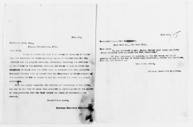 Clara Barton Papers: Red Cross File, 1863-1957; American National Red Cross, 1878-1957; Relief operations; Spanish-American War; Correspondence; General; 1898, June-July 11