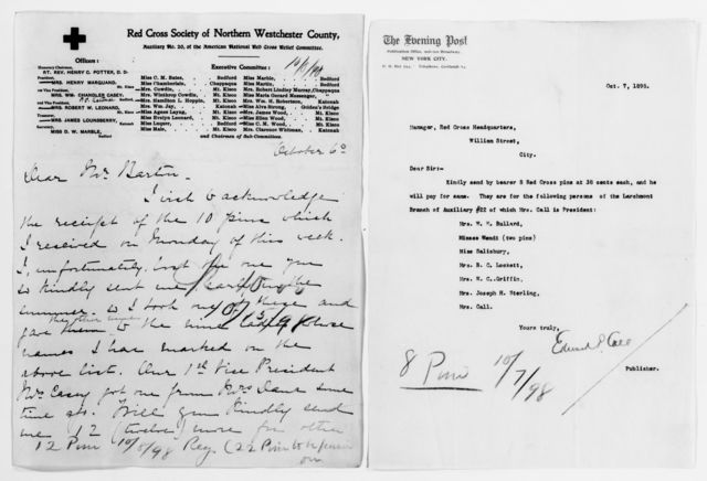 Clara Barton Papers: Red Cross File, 1863-1957; American National Red Cross, 1878-1957; Relief operations; Spanish-American War; Badges and pins, 1898-1899, undated