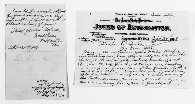 Clara Barton Papers: Red Cross File, 1863-1957; American National Red Cross, 1878-1957; Relief operations; Spanish-American War; Contributions and donations; Cash contributions; 1898, Aug.-1899, May