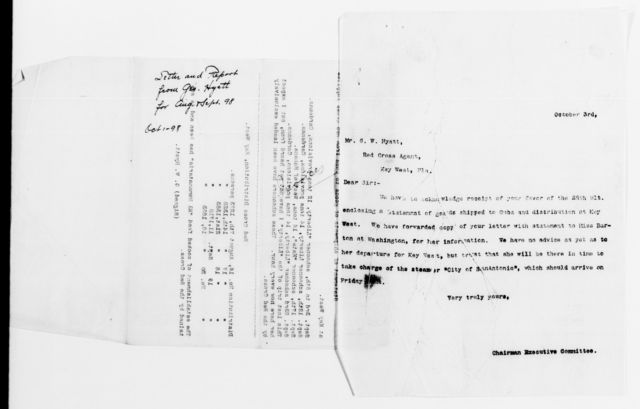 Clara Barton Papers: Red Cross File, 1863-1957; American National Red Cross, 1878-1957; Relief operations; Spanish-American War; Correspondence; Special; Hyatt, George W., 1898-1899, undated