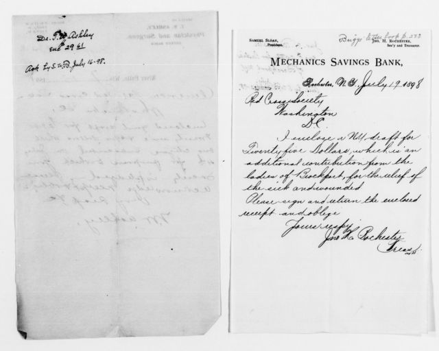 Clara Barton Papers: Red Cross File, 1863-1957; American National Red Cross, 1878-1957; Relief operations; Spanish-American War; Contributions and donations; Cash contributions; 1898, May-July