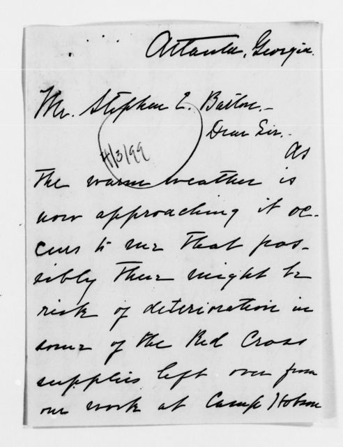 Clara Barton Papers: Red Cross File, 1863-1957; American National Red Cross, 1878-1957; Relief operations; Spanish-American War; Correspondence; Special; McKinley, Junia, 1898-1899, undated