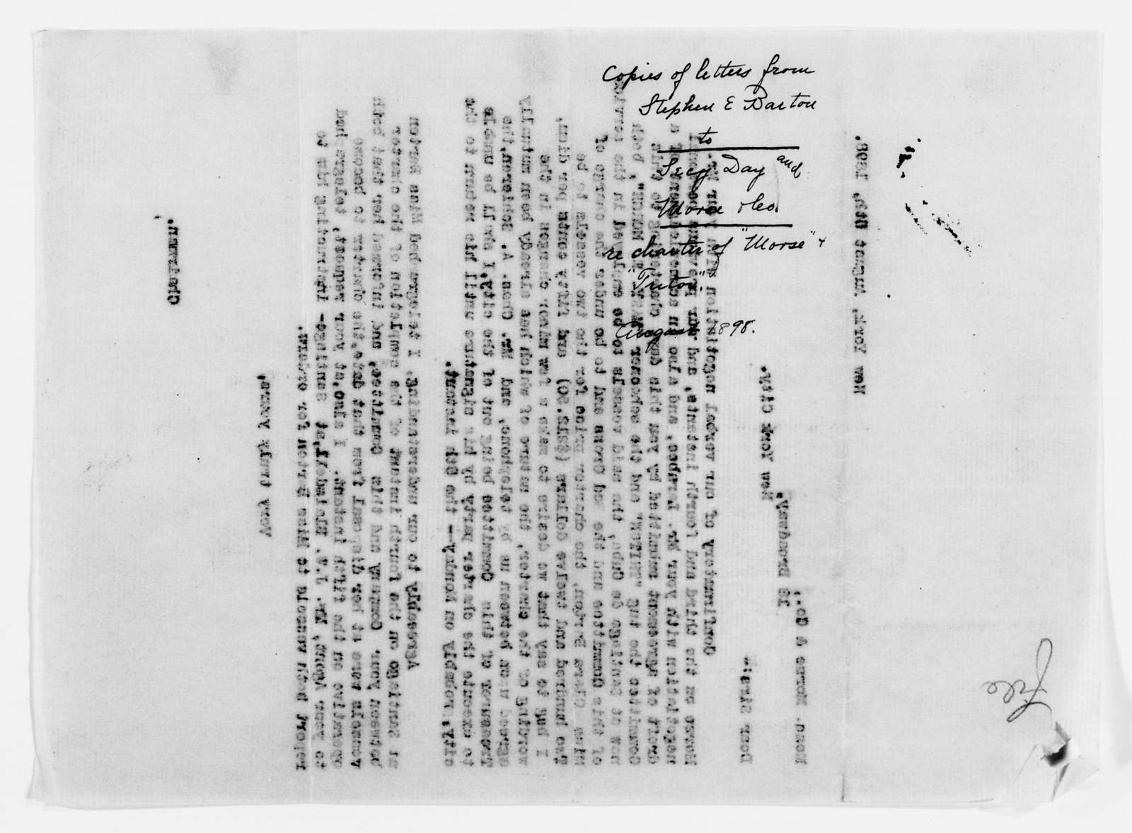 Clara Barton Papers: Red Cross File, 1863-1957; American National Red Cross, 1878-1957; Relief operations; Spanish-American War; Correspondence; General; 1898, July 19-Sept. 11
