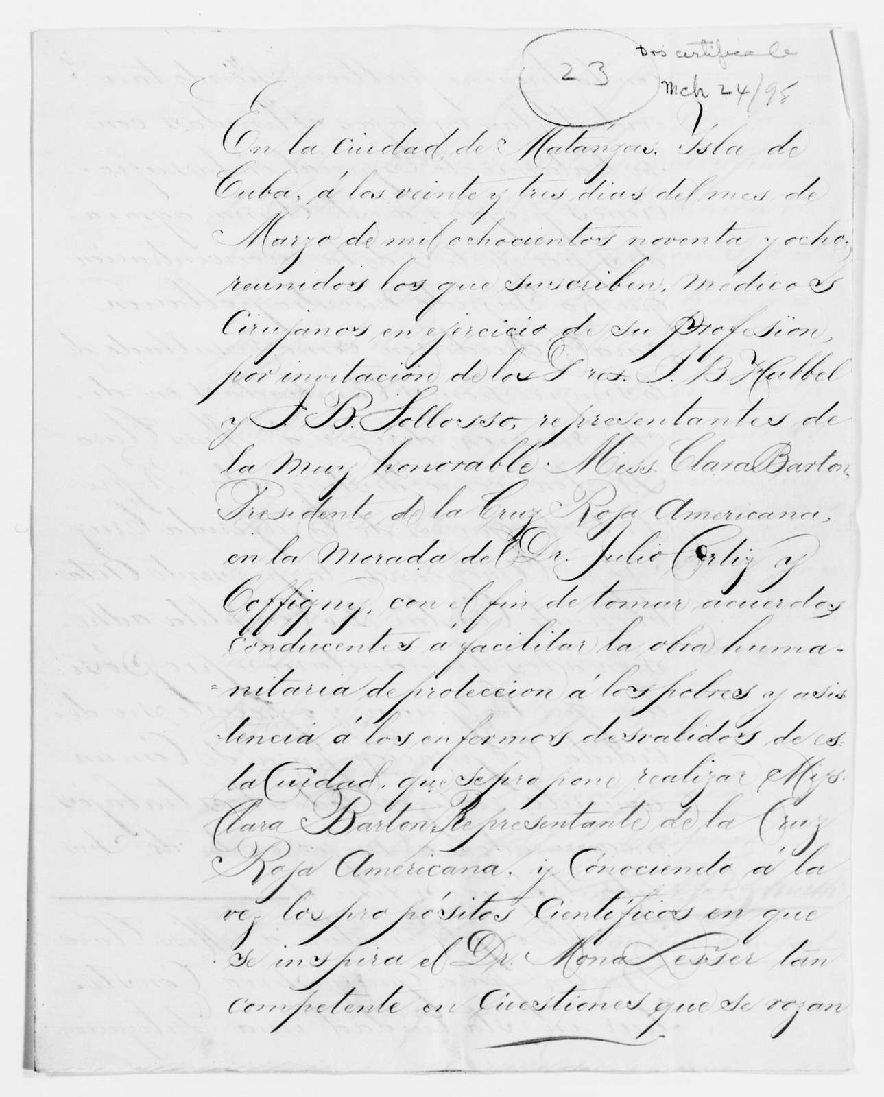 Clara Barton Papers: Red Cross File, 1863-1957; American National Red Cross, 1878-1957; Relief operations; Spanish-American War; International Committee of the Red Cross, 1898-1899