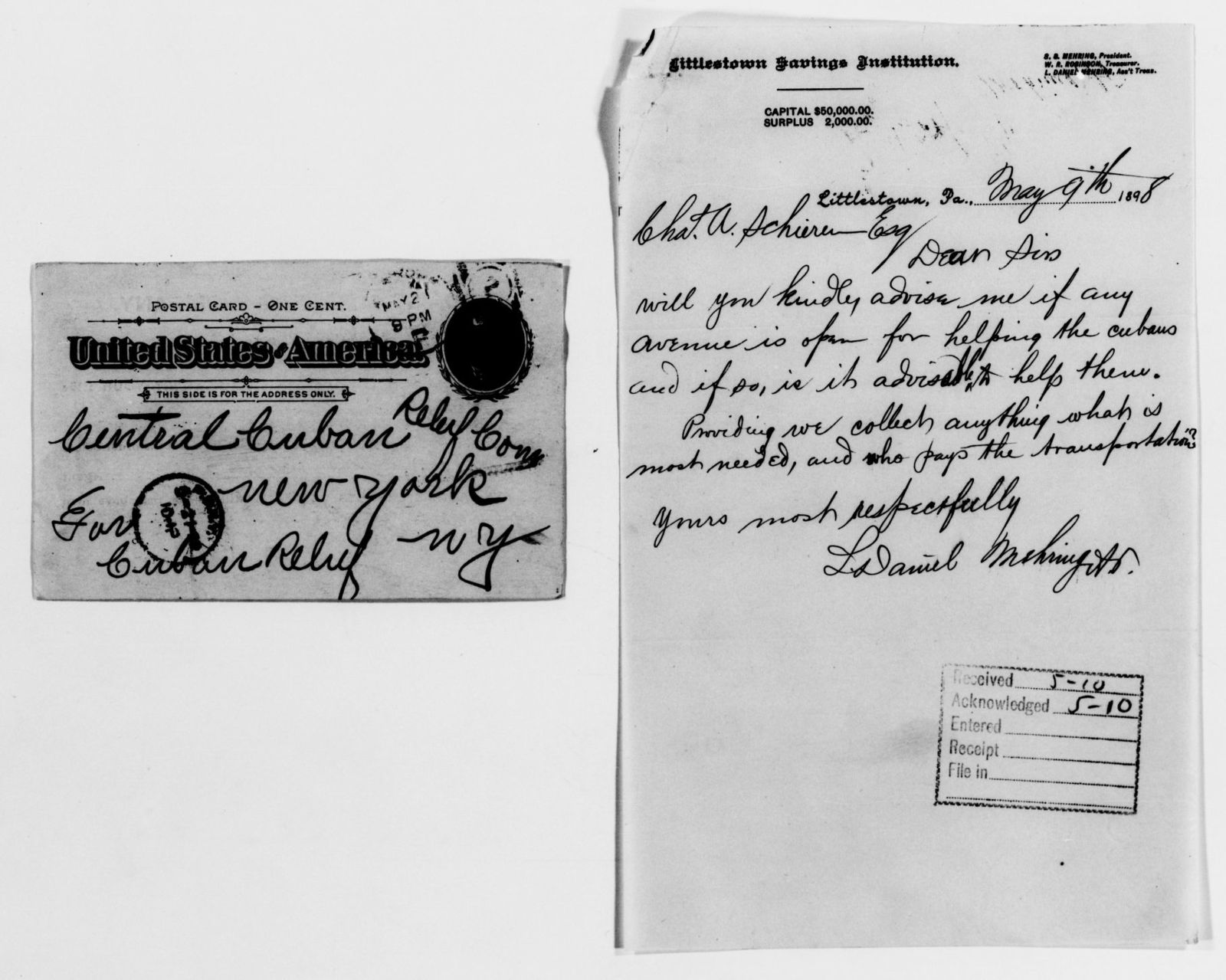 Clara Barton Papers: Red Cross File, 1863-1957; American National Red Cross, 1878-1957; Relief operations; Spanish-American War; Contributions and donations; Materials and supplies; 1898, May